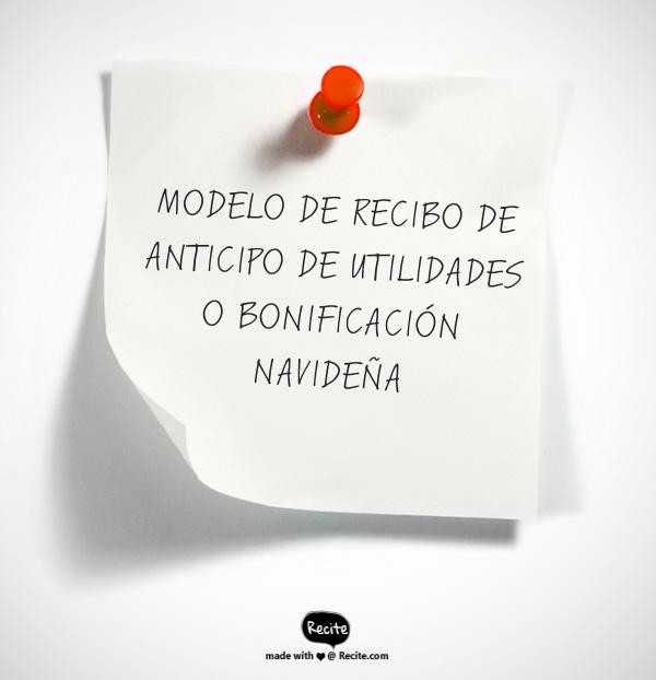 MODELO DE ANTICIPO DE UTILIDADES O BONIFICACIÓN NAVIDEÑA