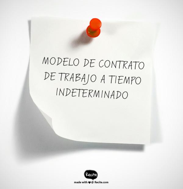 modelo de contrato de trabajo a tiempo indeterminado
