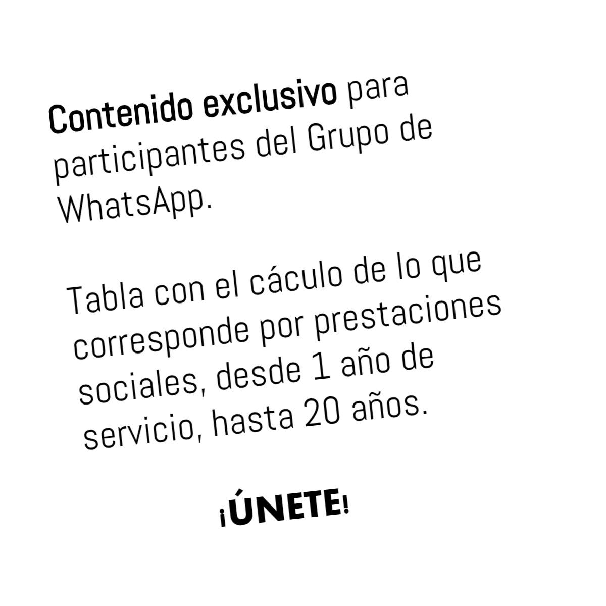 TABLA DE PRESTACIONES SOCIALES